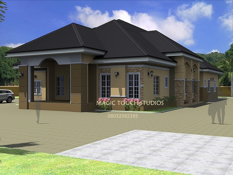 4 bedroom bungalow residential homes and public designs for Beautiful 5 bedroom house plans with pictures