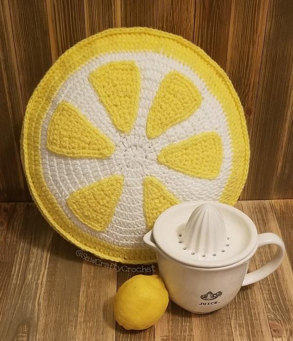 crochet lemon slice pillow