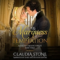 Marquess of Temptation audiobook cover. A Regency couple embrace.