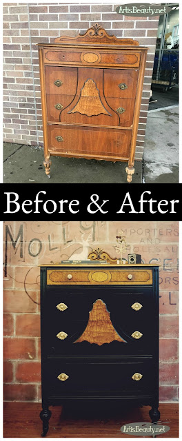 before and after antique depression era dresser makeover before and after Lamp black general finishes