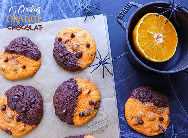 cookie bicolore orange chocolat