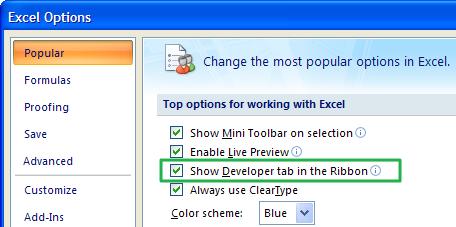 Tab Developer Excel