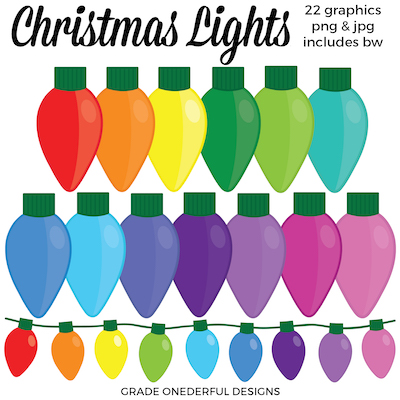 Christmas Clip Art: Christmas Lights This pretty set of Christmas lights clip art is perfect for all your crafting projects and teacher products! #Christmas #gradeonederful #christmasprintables #christmasclipart