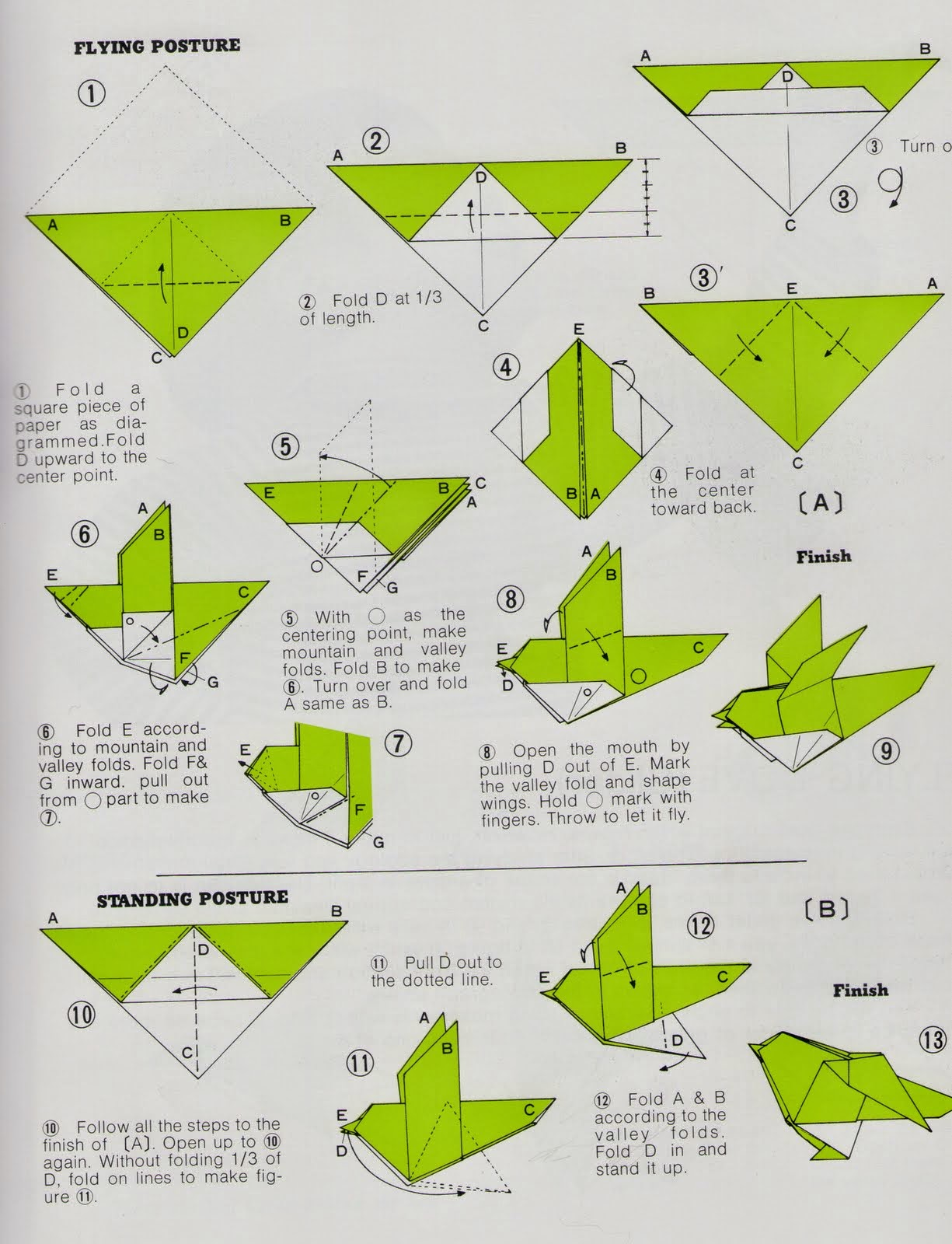 origami angel step by diagram 99 civic ignition switch wiring how to make an bird instructions art and craft ideas
