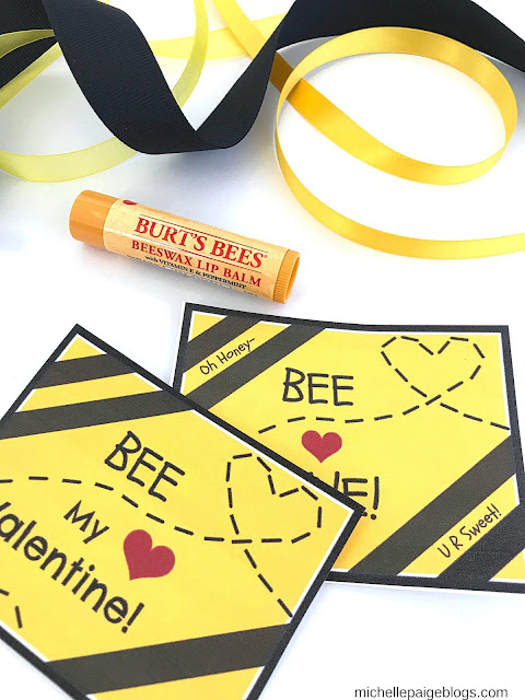 Bee Mine Lip gloss printable valentine @michellepaigeblogs.com