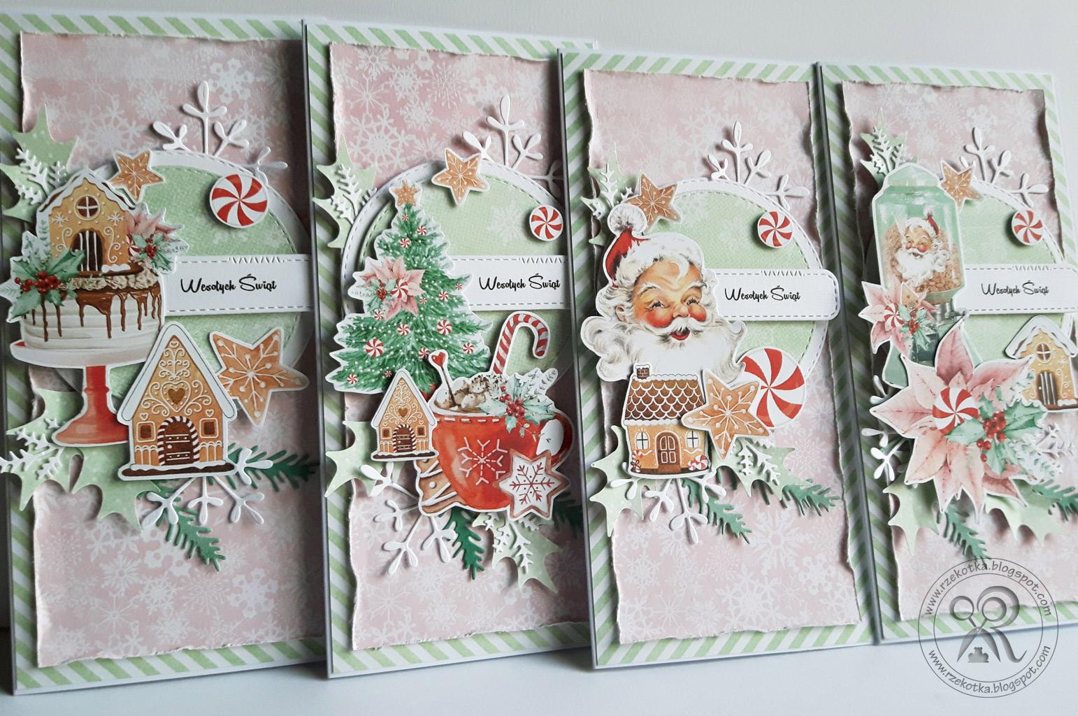 Ręcznie robione kartki bożonarodzeniowe