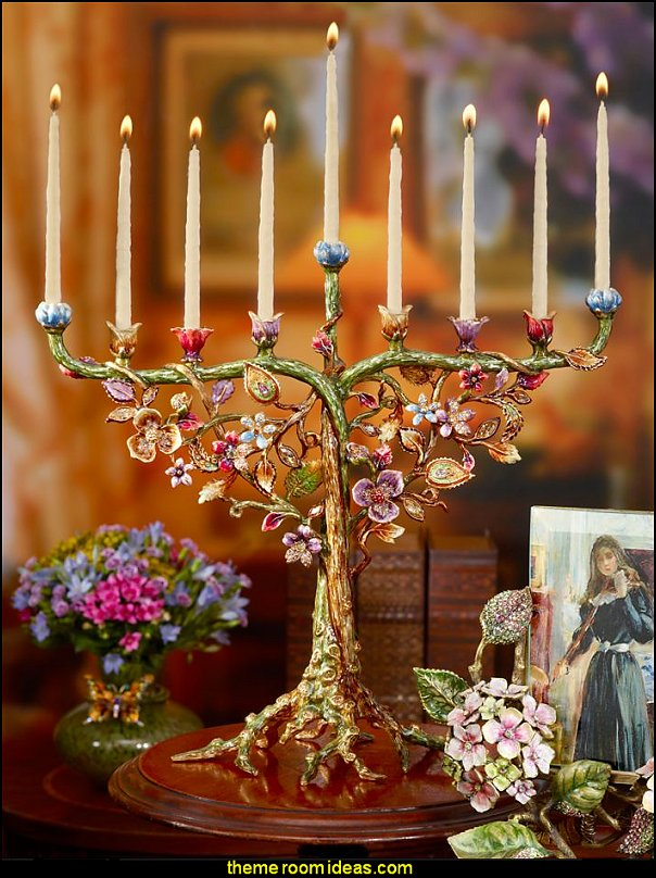 Floral and Fine Menorah  novelty gifts - unique gifts - fun gifts - unusual gifts - novelty lighting - unique furniture - fun decorations - uncommon furniture - novelty furniture - online home furnishing shopping