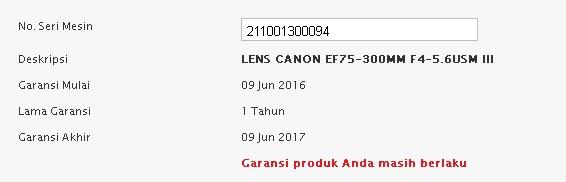 Cara Cek garansi Canon