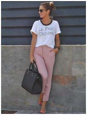 Pantalones de Color Rosa