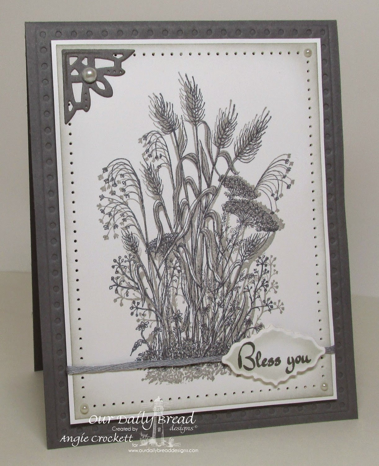 ODBD Miss You, ODBD Life is a Gift, ODBD Custom Ornate Borders and Flower Dies, ODBD Custom Faithful Fish Pattern Die and Debossing Plate, Card Designer Angie Crockett