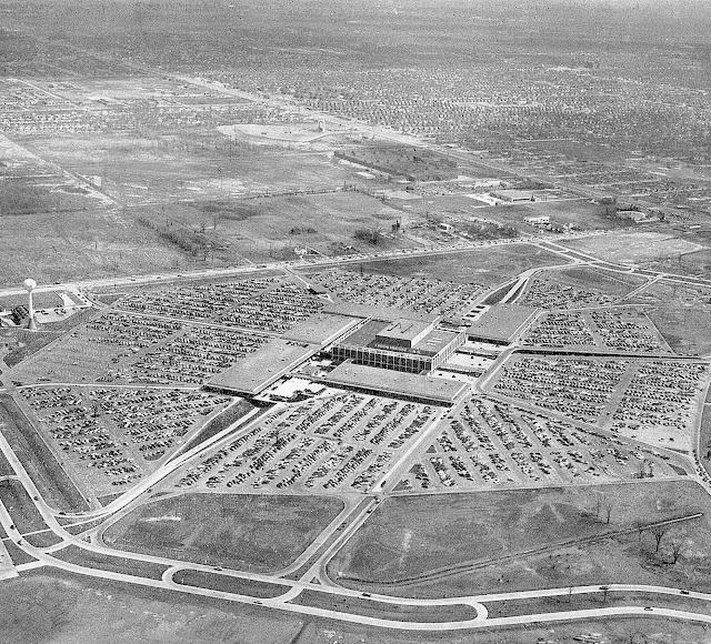 1950s mall parking, an aerial photograph