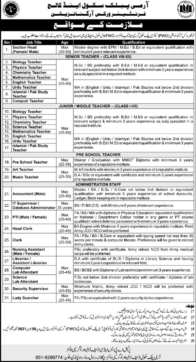 New Jobs in Army Public School and College June 2021