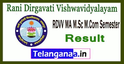 RDVV Rani Durgavati Vishwavidyalayam Jabalpur MA M.Sc M.Com (PG) 2nd 4th Semester Result