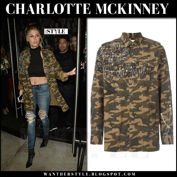 Charlotte McKinney in camouflage print jacket faith connexion and ripped jeans what she wore