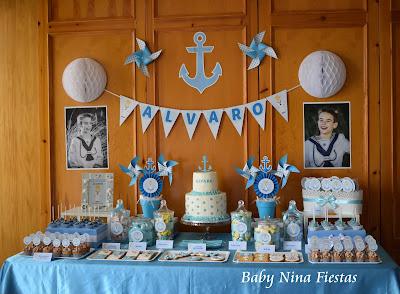 mesa dulce comunión niño marinero