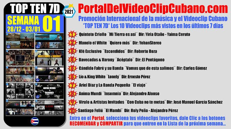 Artistas ganadores del * TOP TEN 7D * con los 10 Videoclips más vistos en la semana 01 (28/12 a 03/01 de 2021) en el Portal Del Vídeo Clip Cubano