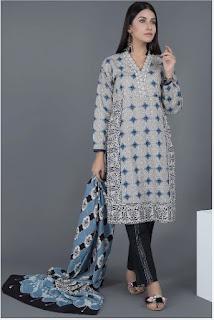 warda winter blue color khaddar suit printed dupatta