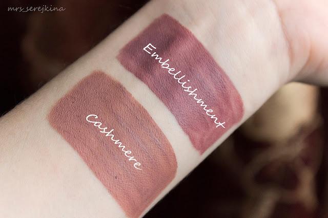 Lime Crime Liquid Matte Lipstick Velvetines Cashmere vs NYX Lip Lingerie Matte Embellishment