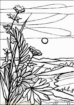 Mewarnai Gambar Pemandangan Alam 7