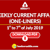 Weekly Current Affairs- One-Liners   01st to 07th of July 2019