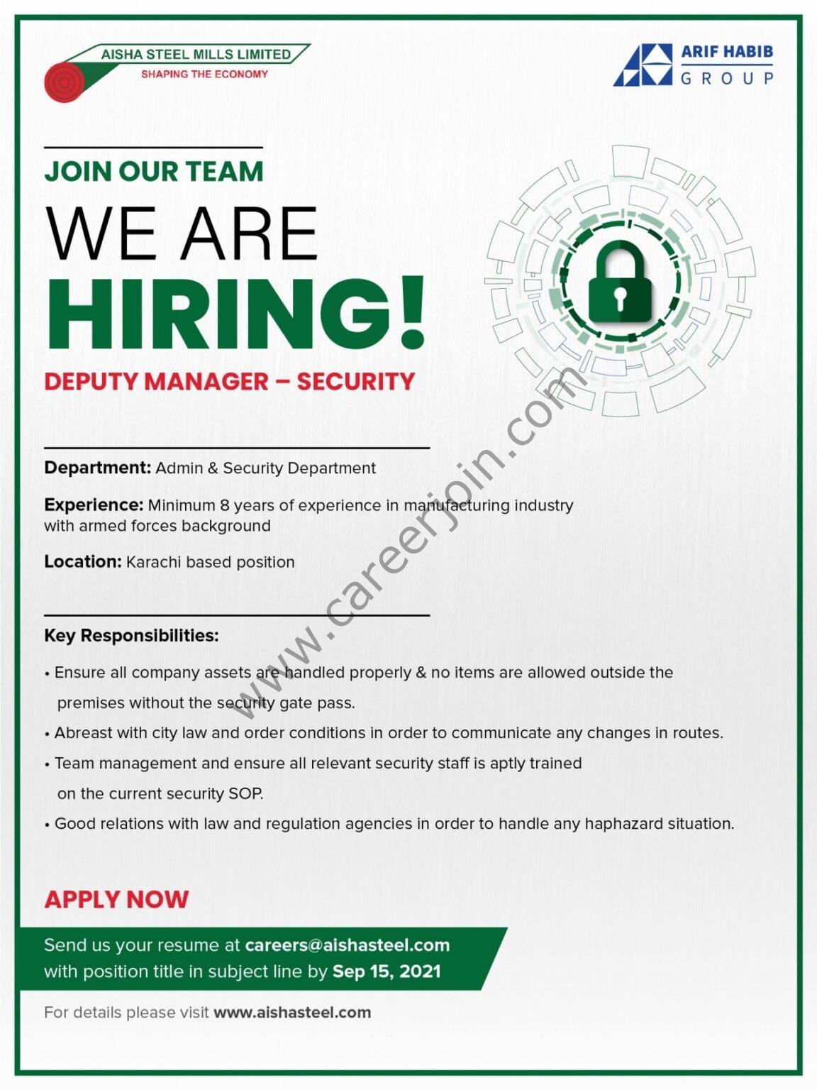 Aisha Steel Mills Ltd ASML Jobs Deputy Manager Security