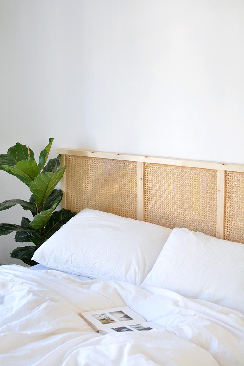 cane headboard IKEA ivar hack