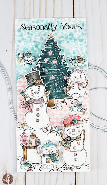 It's a gift card holder with two layers of flaps.  The card is covered with lush Snow Family members of the digital stamp sets available at TLCDesigns.shop.  The paper pack is in non traditional but very trendy Seasonal colors and coordinate perfectly!