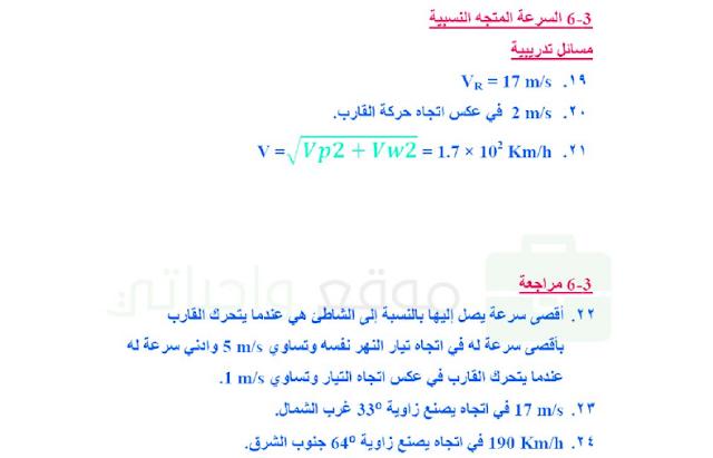 حل درس السرعة المتجهة النسبية للصف الاول ثانوي