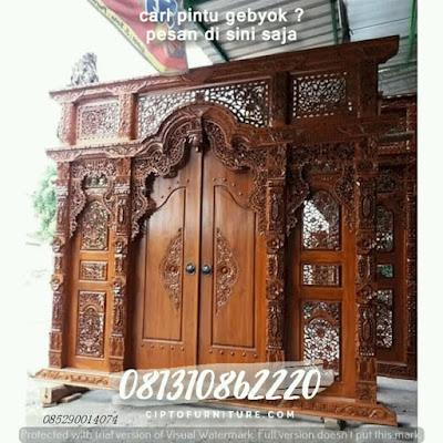 Pintu gebyok berasal Dari jepara Jawa Tengah