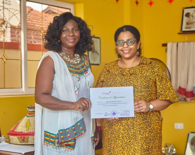 Coordinator for Ethiopian Airlines in Ghana, Ambassador Nancy Sam has been honoured by the Ethiopian Airlines