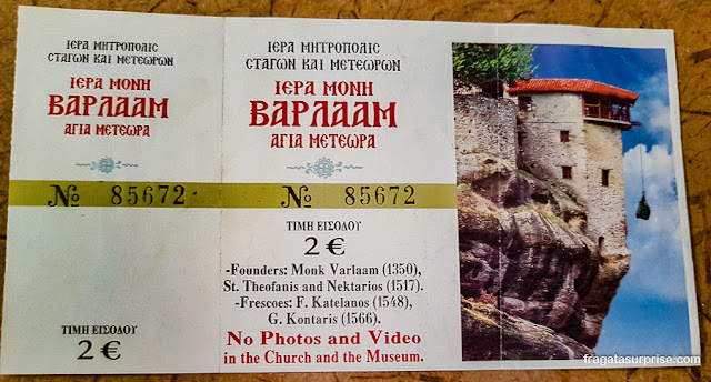 Ingresso para o Mosteiro de Varlaam, Meteora, Grécia
