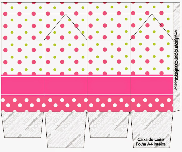 Sweet 16 Pink, Green and White Polka Dots Free Printable Milk Box.