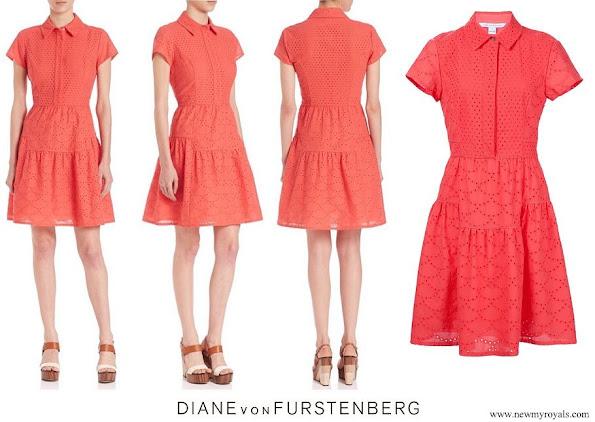 Princess Eleonore wore Diane Von Furstenberg skylar eyelets dress