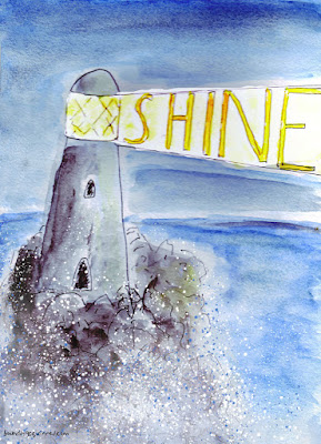 """A lighthouse illustration in which the lighthouse beam says, """"Shine""""."""