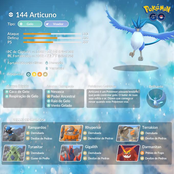 Confira o guia de batalha de reide para enfrentar Articuno em Pokémon GO