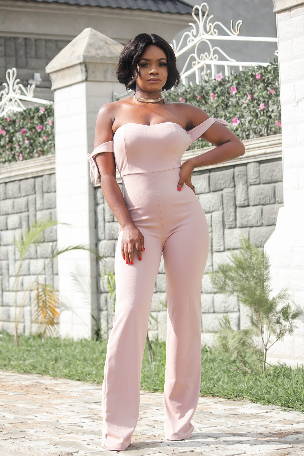 NUDE JUMPSUIT - Hot Miami Styles Blushed Nude Off Shoulder Tie Knot Jumpsuit
