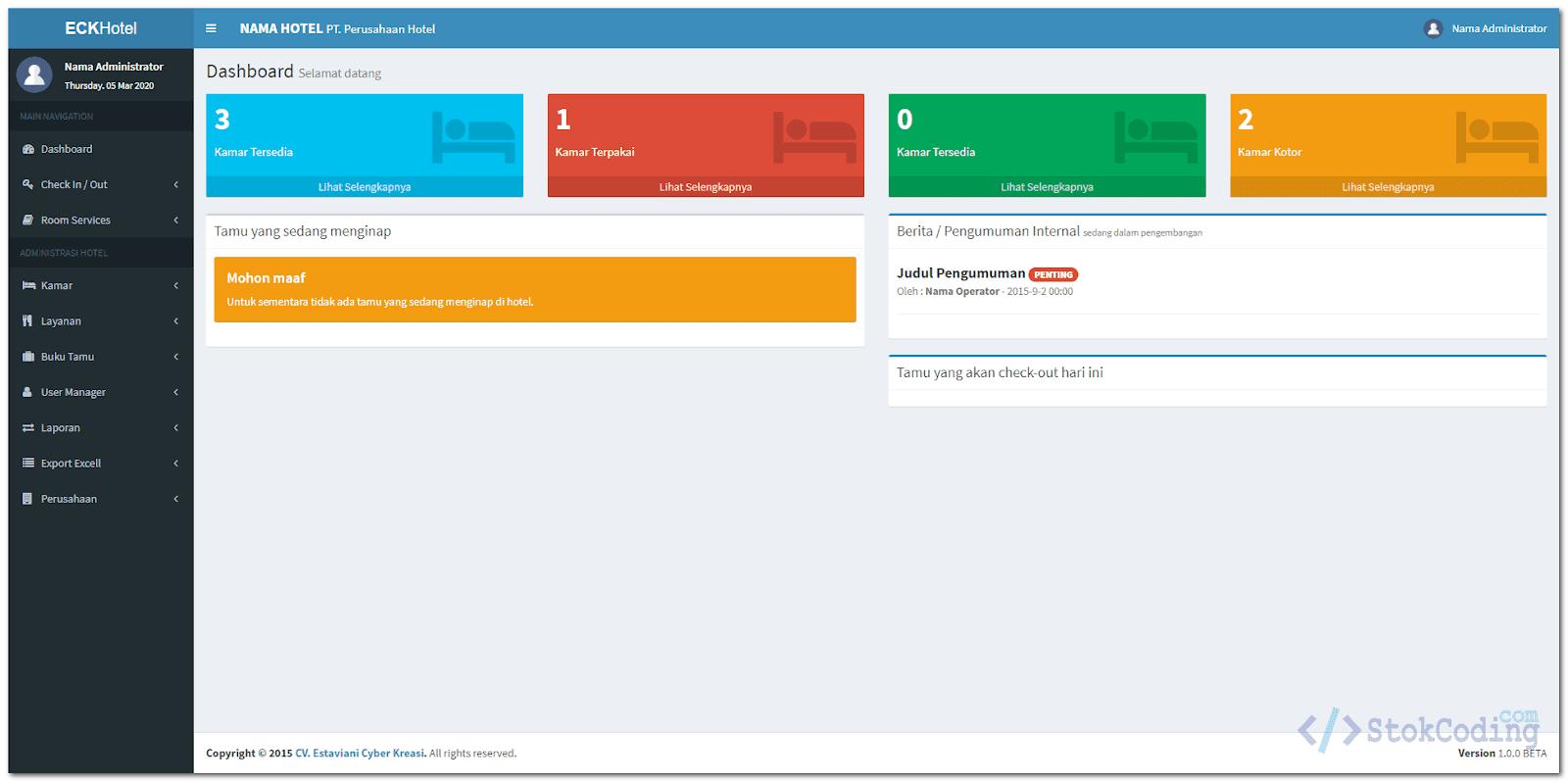 Aplikasi Managemen Hotel Berbasis Web (PHP)