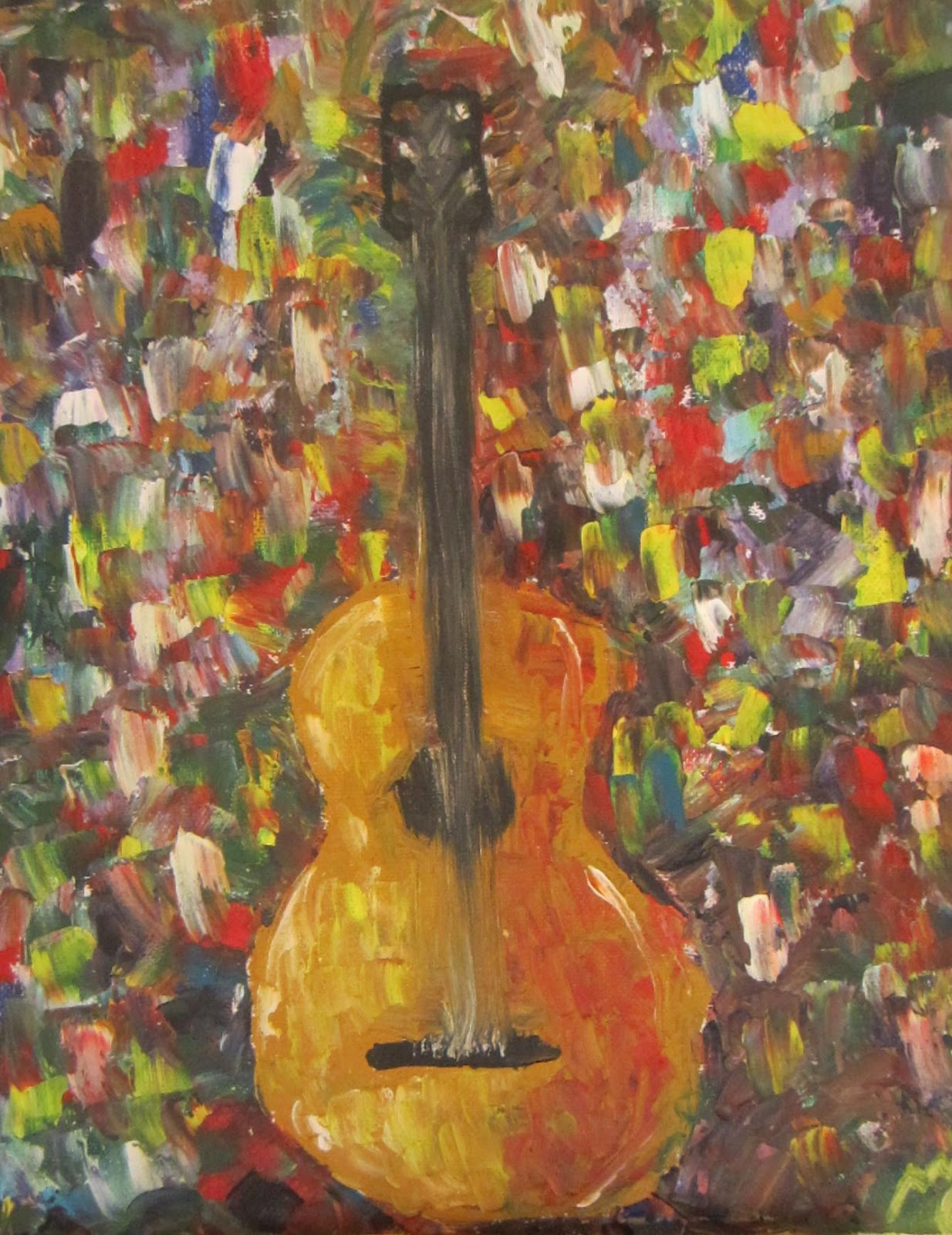Abstract Spanish Guitar Followed By A Close Up Of The Painting So You Can Really Appreciate Mixture Colours