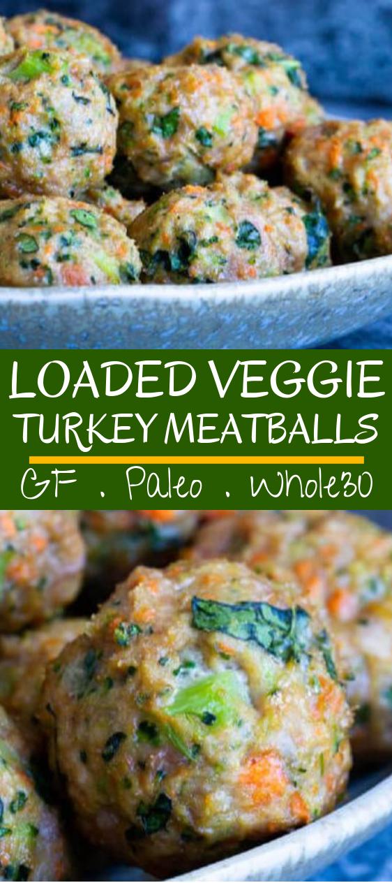 Loaded Veggie Turkey Meatballs #paleo #glutenfree