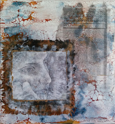 encaustic mixed media collage painting with portrait drawing, cloth, and shellac burn effect
