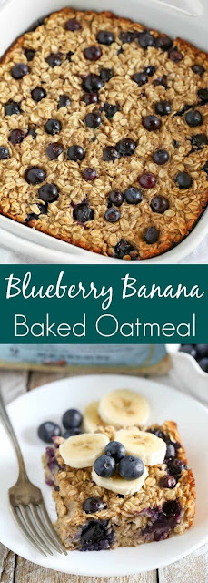 Easy Blueberry Banana Baked Oatmeal