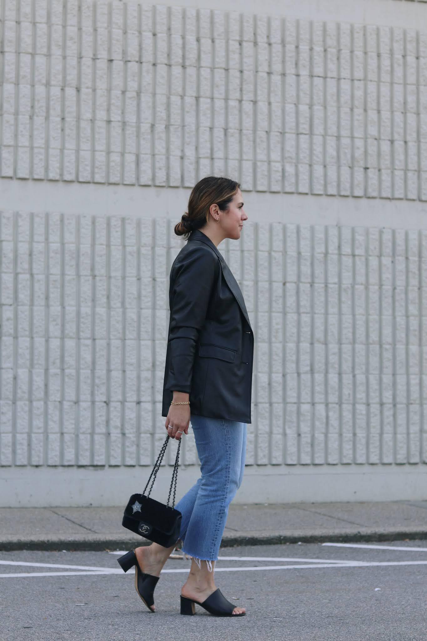 le chateau faux leather blazer outfit