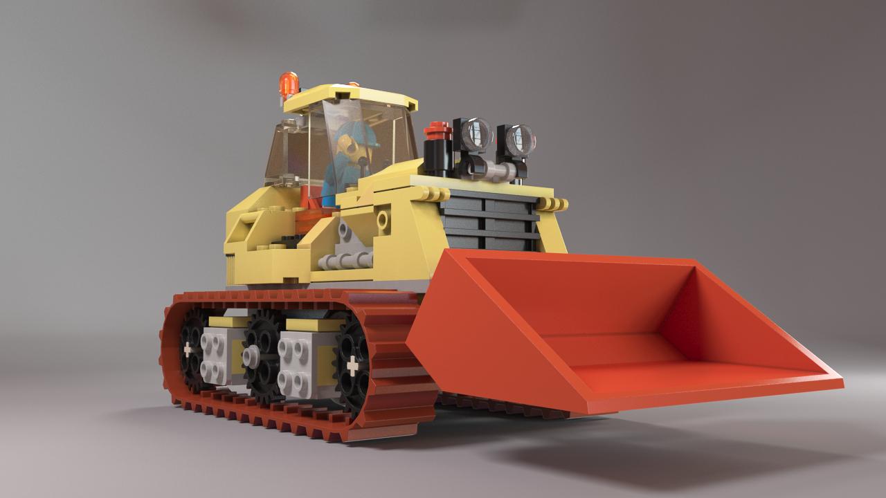 Blender Lego Model Tractor Design - LeoCad Export LDraw to