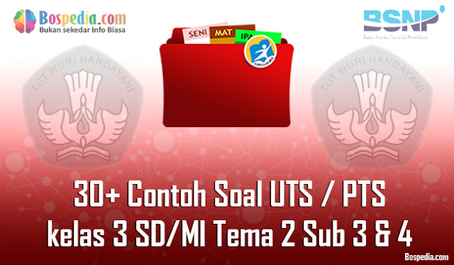 30+ Contoh Soal UTS / PTS untuk kelas 3 SD/MI Tema 2 Sub 3 & 4 Kunci Jawaban