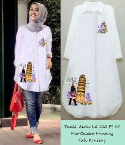 Baju Muslim Cantik Terbaru Tunik Warna Putih Bj0031 www.bajumurahgrosiran.com baju tunik wanita lagi ngetrend, model tunik terbaru di pasaran,Model Baju Wanita Yg Lg Ngetren