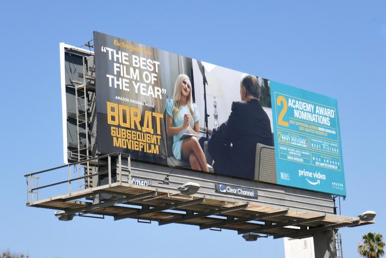 Borat subsequent Moviefilm Academy Award billboard