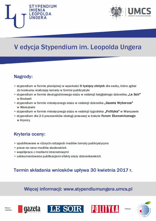 Stypendium im. Leopolda Ungera - V edycja - plakat reklamujący