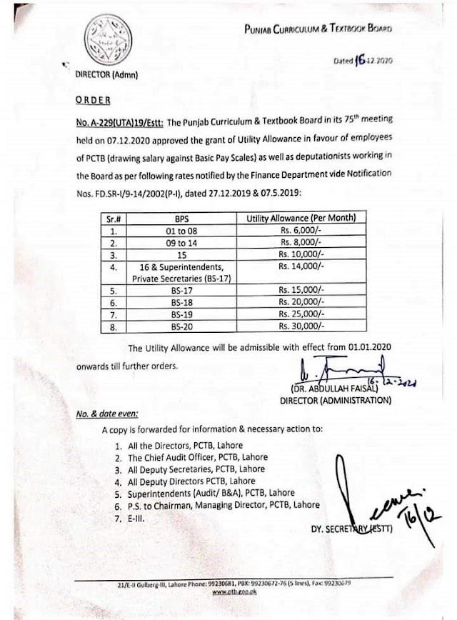 GRANT OF UTILITY ALLOWANCE FOR PCTB EMPLOYEES