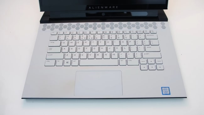 White Magnesium-alloy matte finish interior of Dell Alienware m15 r2 gaming laptop.