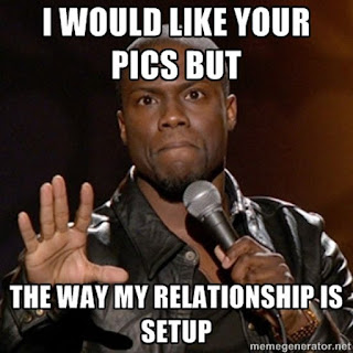 Kevin Hart being funny in regards to relationships on social media.